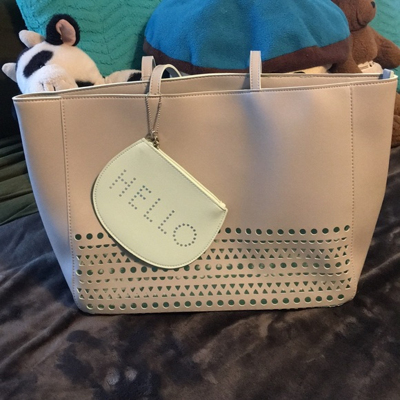 bath and body works Bags | Bath Body Works Tote Purse Gray Baby Blue ...